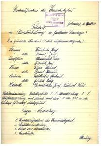 Protokoll vom 16. April 1952 zur Wiederaufnahme der Vereinstätigkeit
